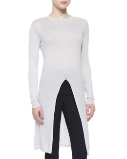 Long-Sleeve Slit-Center Sweater