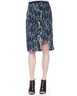 Feather-Print Skirt W/ Tiered Hem