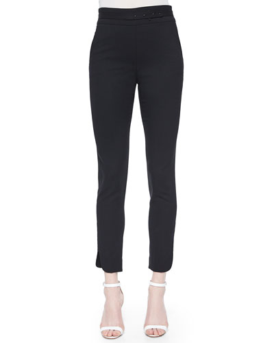 Stud-High-Waist Slim Pants