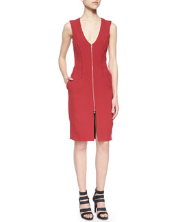 Front-Zip Dress w/Pickstitch Trim