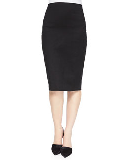 Fincher Ramie Pencil Skirt, Black