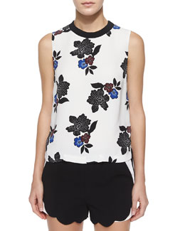 Harvey Sleeveless Floral-Print Top