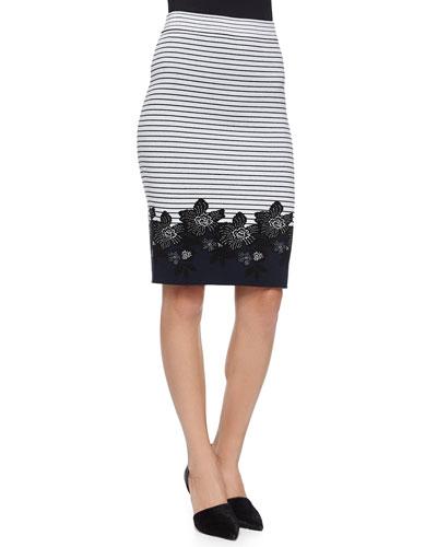 Brennan Striped Floral Pencil Skirt