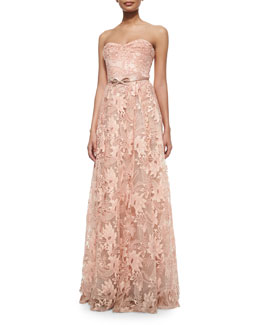 Strapless Sweetheart Belted Lace Full Gown