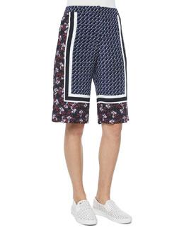 Kidd Border-Print Silk Shorts