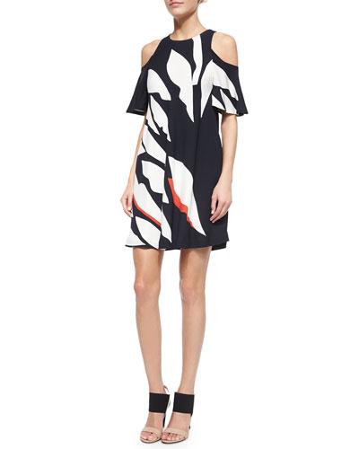 Ally Leaf-Print Cold-Shoulder Dress, Red/Black