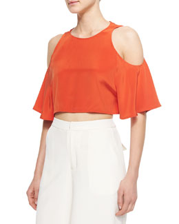 Teresa Cold-Shoulder Crop Top, Orange