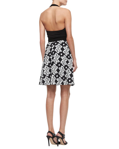 Sleeveless Leaf-Print Wrap Dress