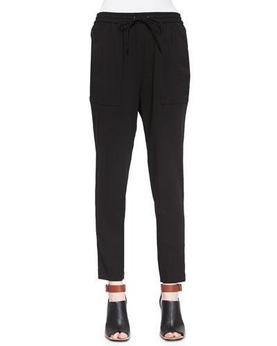 Polina Drawstring Pants, Black