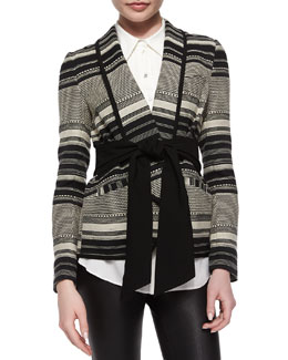 Brighton Tie-Waist Striped Jacket
