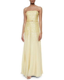 Strapless Sequined Belted Gown