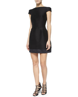 Cap-Sleeve Structured Cocktail Dress