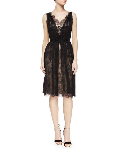 b50ef698b05 Catherine Deane Sleeveless V-Neck Lace Tulle Overlay Dress
