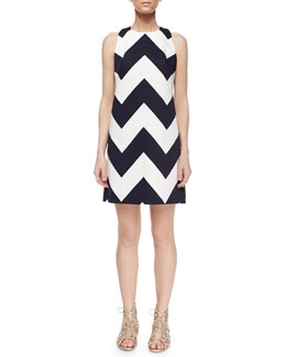 Chevron A-Line Shift Dress