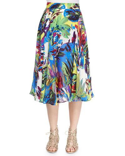 Floral-Print Circle Skirt