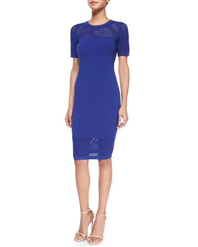Short-Sleeve Ribbed Dress W/ Mesh