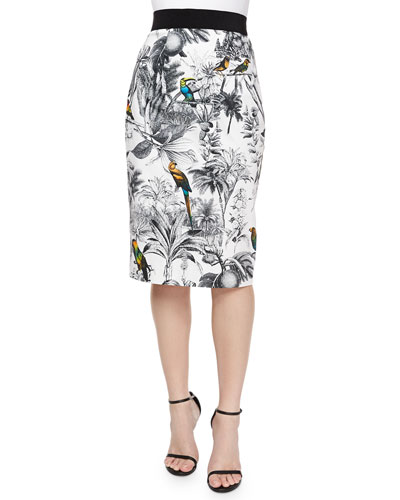Tropical-Print Midi Skirt