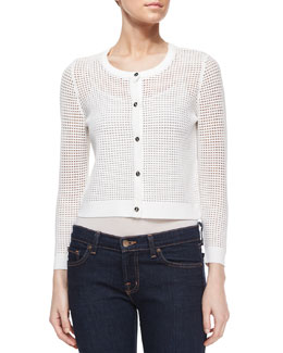 Cropped Mesh Cardigan, White