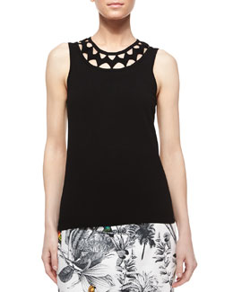 Sleeveless Neck-Cutout Tank