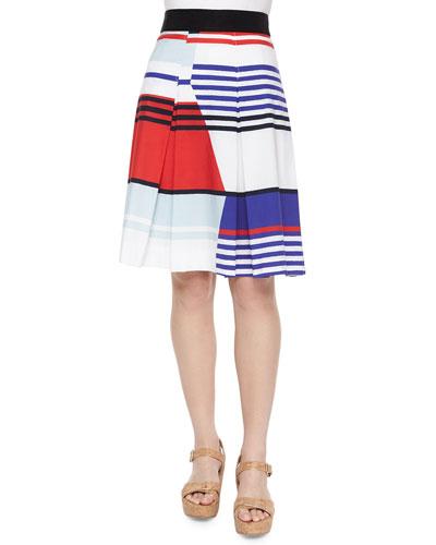 Marina Striped Pleated Skirt