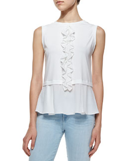 Mercerized Ruffle-Front Top, Sea Salt