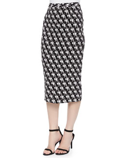 Bell Dancers-Print Midi Pencil Skirt