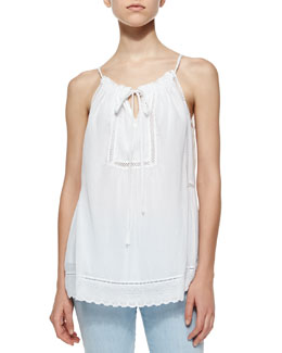 Voile & Lace Drawstring Top, Sea Salt