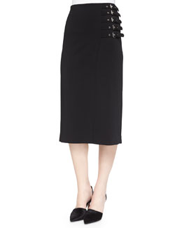 Clint Buckled-Side Pencil Skirt