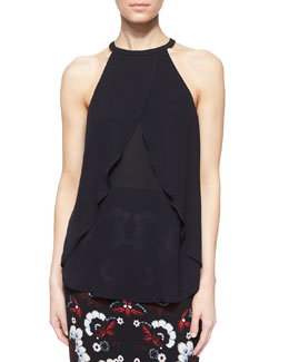 Iggy Sleeveless Layered Silk Top, Midnight