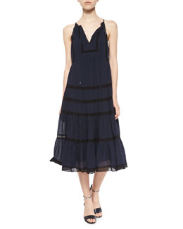 Voile & Lace Sleeveless Dress, Navy