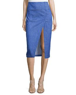 Saddle-Stud Slit Pencil Skirt