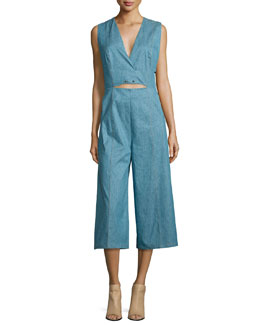 Saddle-Stud Linen-Blend Denim Jumpsuit