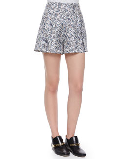 Floral-Print Shorts W/ Saddle Studs