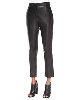 Great Lambskin Leather Ankle Pants