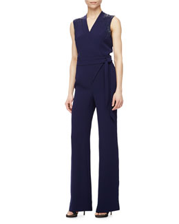 Margot Bead-Embellished Jumpsuit, Navy