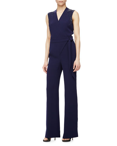 Margot Bead-Embellished Jumpsuit, Navy