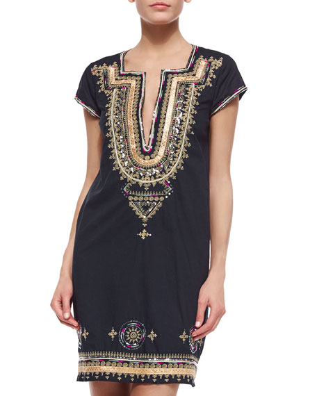 Efima Embroidered Caftan Dress, Navy