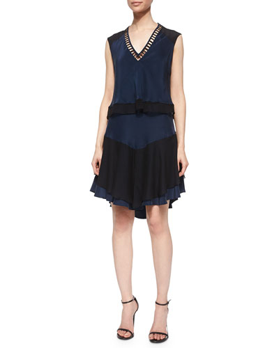 Layered Ladder-Stitch Dress, Black/Navy