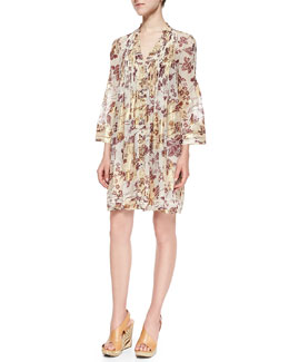 Layla Floral Foil Printed Dress, Raisin/Calico