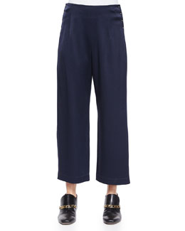 High-Waist Cropped Trousers W/ Saddle Studs