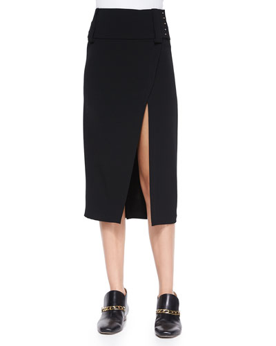 Front-Slit Midi Pencil Skirt