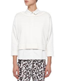 2-N-1 Solid Sweatshirt W/ Fringe
