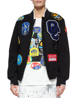 Fruit Sticker Varsity Jacket