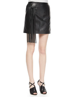 Lambskin Leather Mini Skirt W/ Fringe Pocket