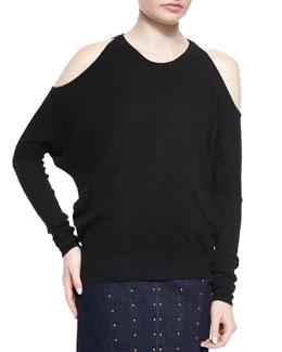 Cashmere Cold-Shoulder Sweater, Black