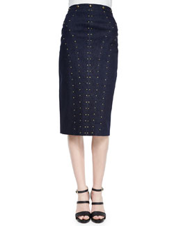 Studded Denim Pencil Skirt