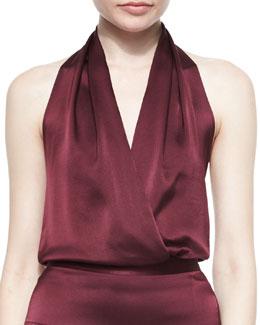 Halter Faux-Wrap Blouson Bodysuit