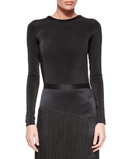 Long-Sleeve Backless Bodysuit