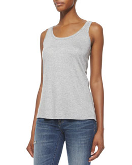 Scoop-Neck Racerback Tank, Gray