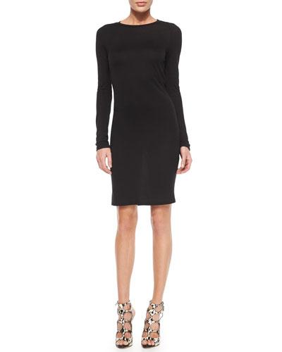 Crewneck Long-Sleeve Open-Back Dress